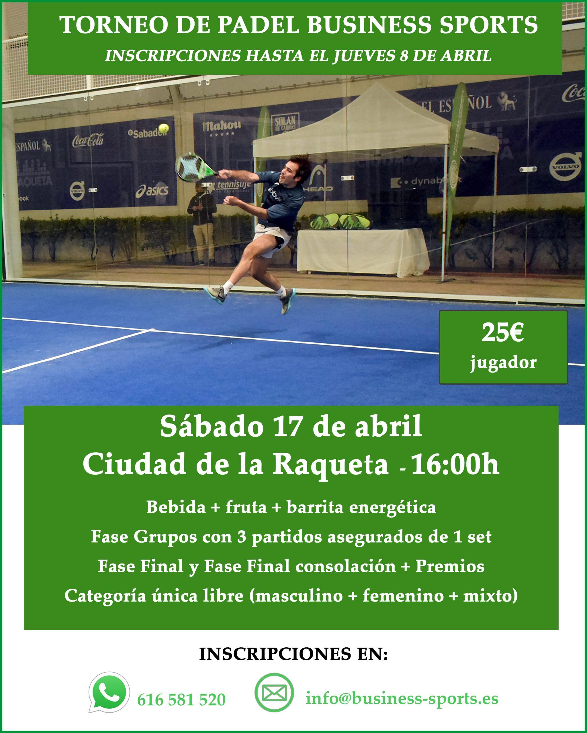 Torneo de Padel 17 de abril. ¡Apúntate!